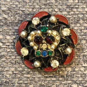 Jewelry - Vintage Floral And Victorian Crown Brooch